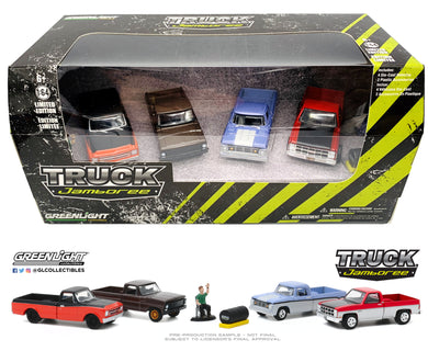 GreenLight 1:64 Multi-Car Dioramas - Truck Jamboree Chevrolet C-10 / Ford F-100 / Dodge D-100 / GMC Sierra Classic 1500 58052