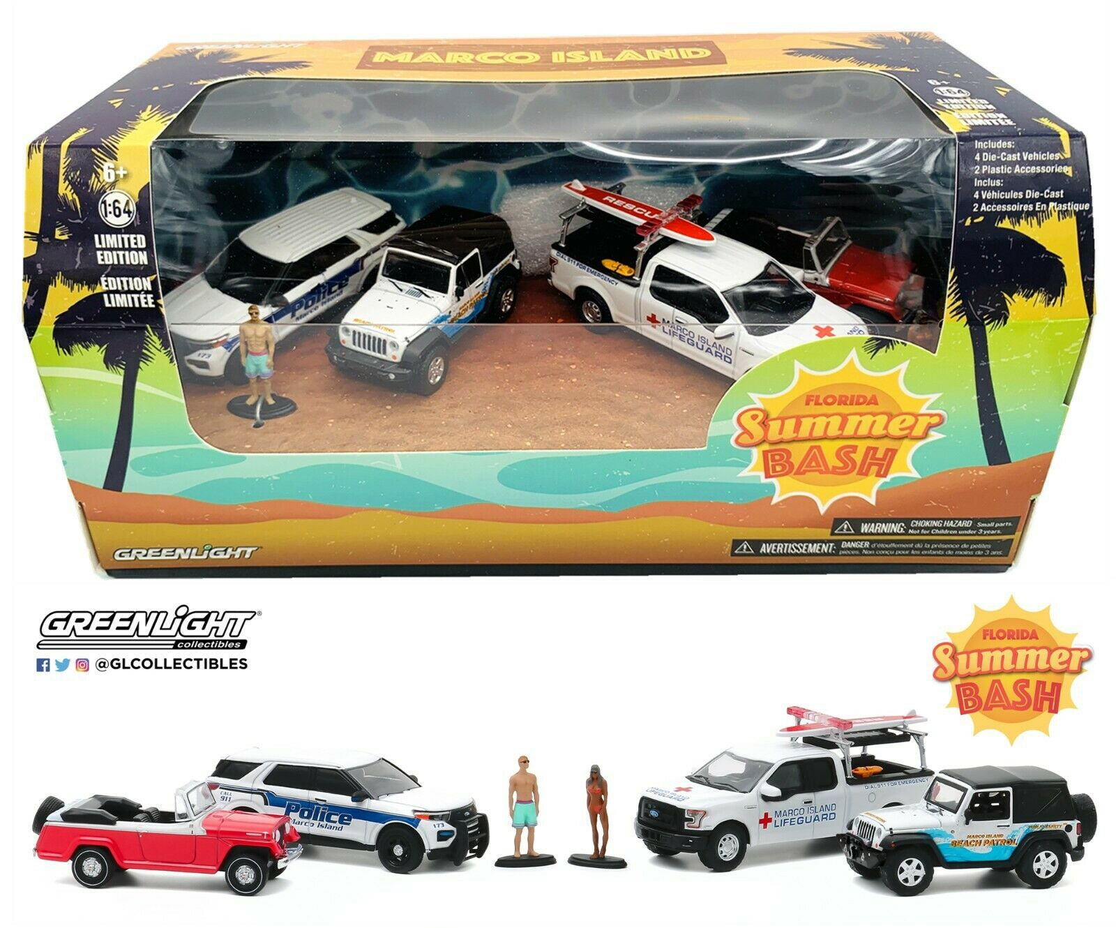 GreenLight 1:64 Multi-Car Dioramas - Marco Island, Florida Summer Bash Jeep Jeepster / Jeep Wrangler / Ford Police Interceptor Utility / Ford F-150 58053