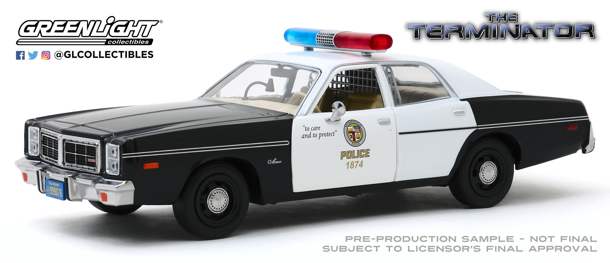 GreenLight 1:24 The Terminator (1984) - 1977 Dodge Monaco Metropolitan Police 84101