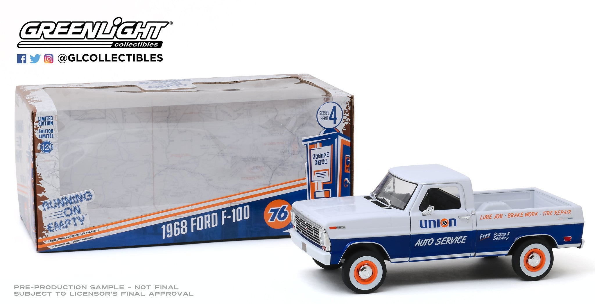 GreenLight 1:24 Running on Empty - 1968 Ford F-100 - Union 76 Auto Service 85052