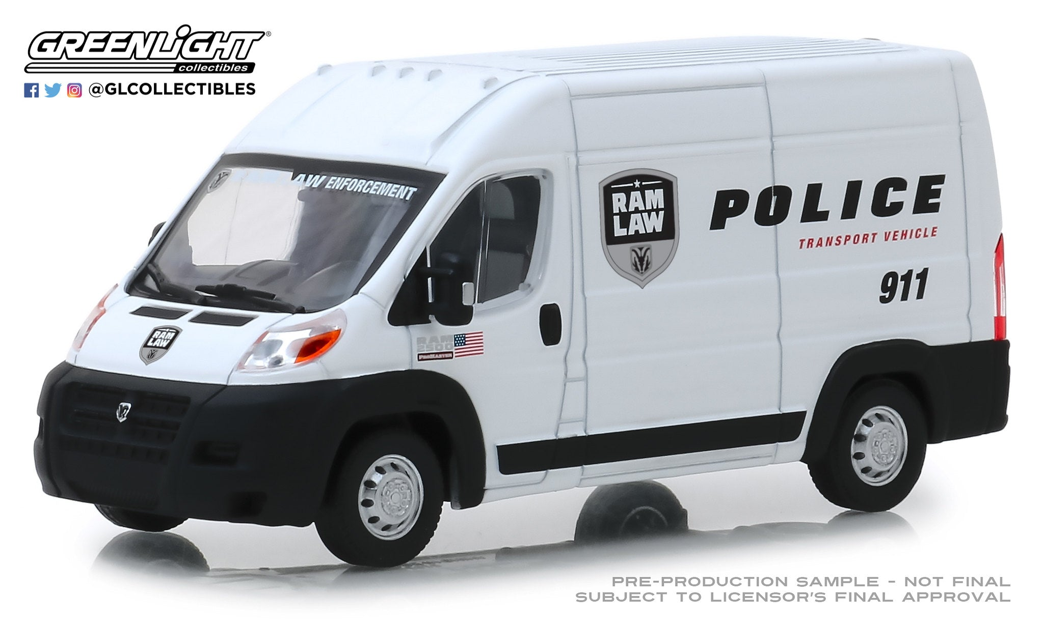 GreenLight 1:43 2018 Dodge Ram ProMaster 2500 Cargo High Roof - Ram Law Enforcement Police Transport Vehicle 86168