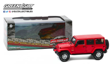 GreenLight 1:43 2017 Jeep Wrangler Unlimited Sahara - Firecracker Red Clearcoat 86177