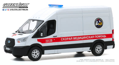 GreenLight 1:43 2019 Ford Transit LWB High Roof Ambulance - St. Petersburg, Russia Fast Medical Aid 86182