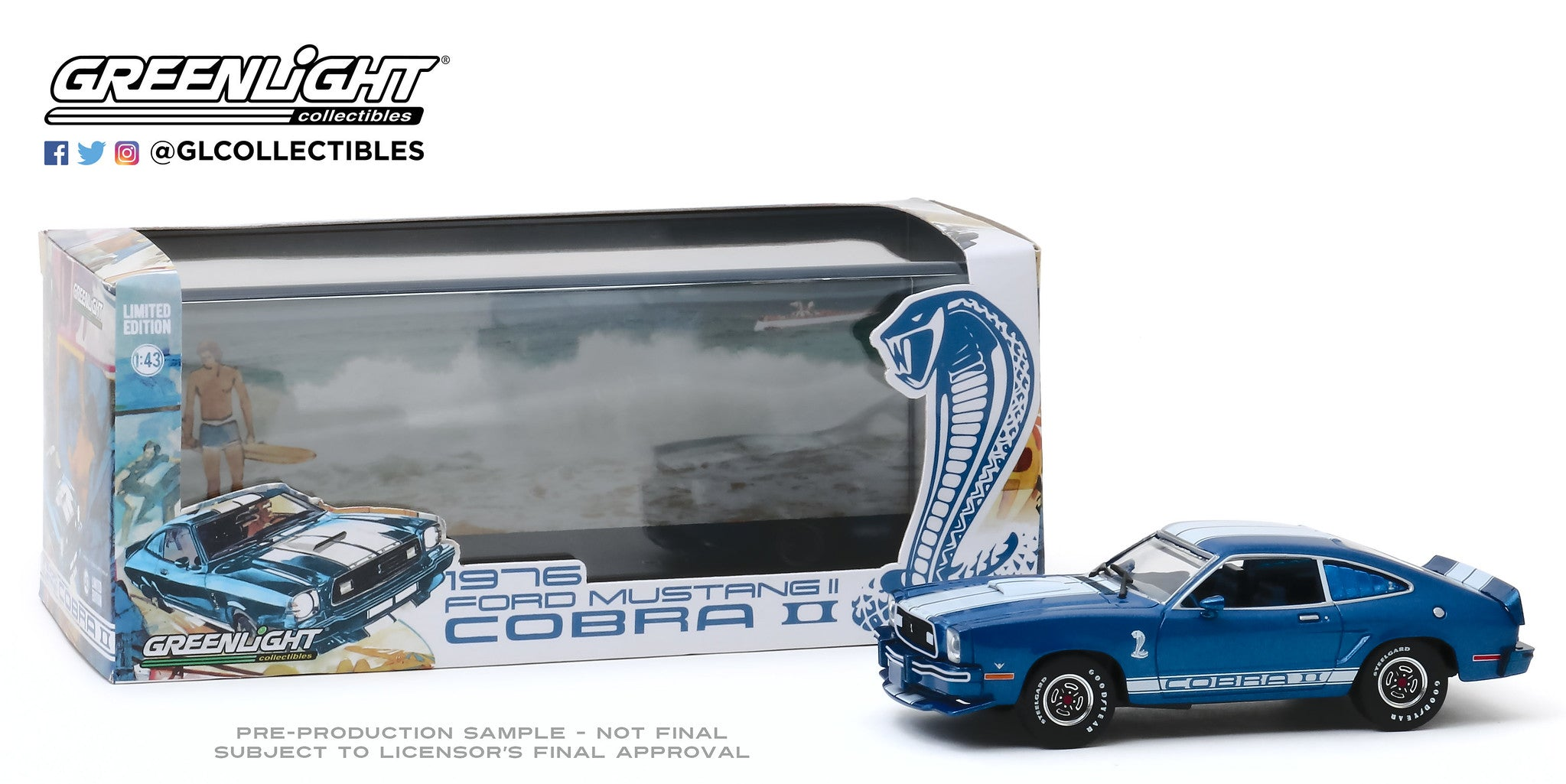 GreenLight 1:43 1976 Ford Mustang II Cobra II - Blue with White Stripes 86336