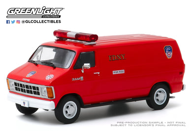 GreenLight 1:43 1983 Dodge Ram B250 Van - FDNY (The Official Fire Department City of New York) 86578