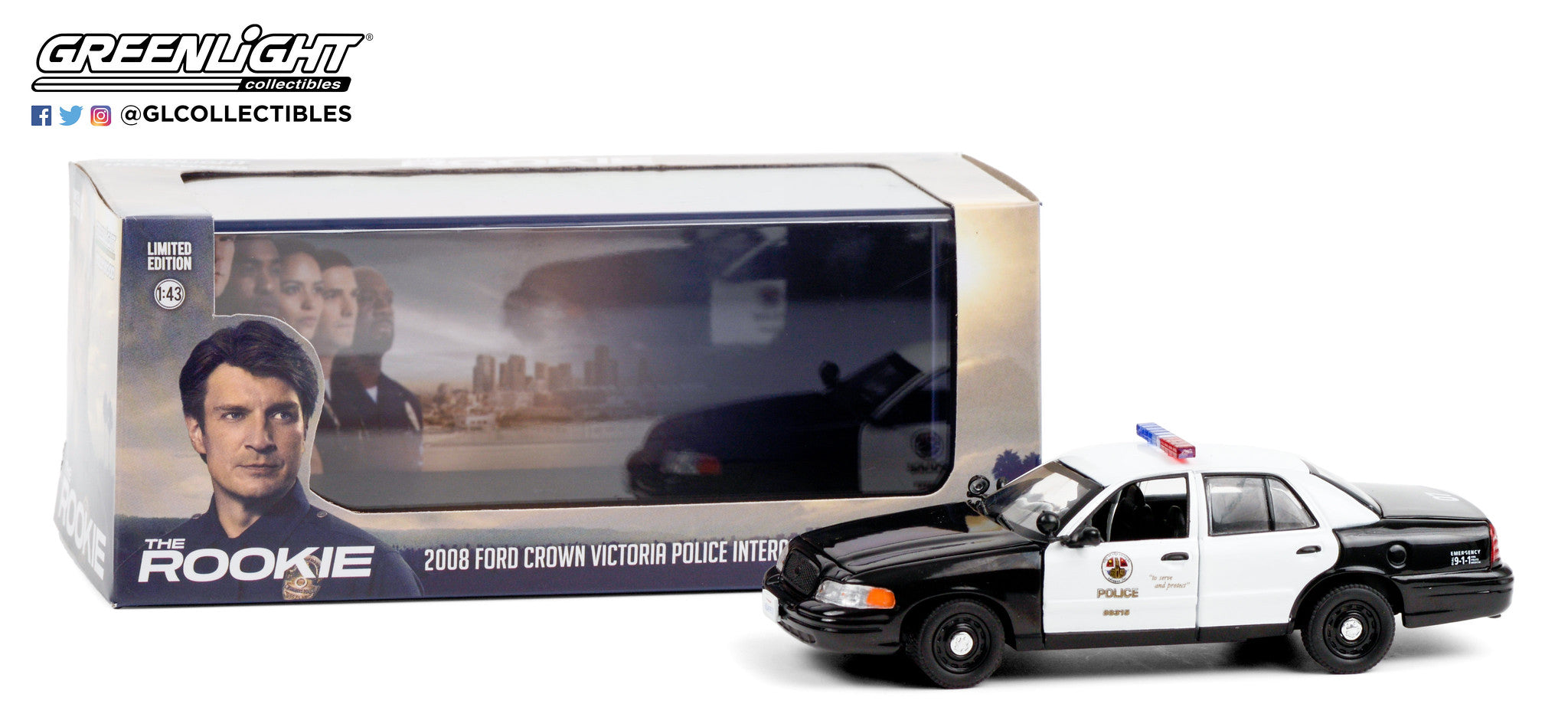 GreenLight 1:43 The Rookie (2018-Current TV Series) - 2008 Ford Crown Victoria Police Interceptor - Los Angeles Police Department (LAPD) 86586