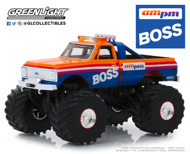 GreenLight 1:43 Kings of Crunch - AM/PM Boss - 1972 Chevrolet K-10 Monster Truck (with 66-Inch Tires) 88021