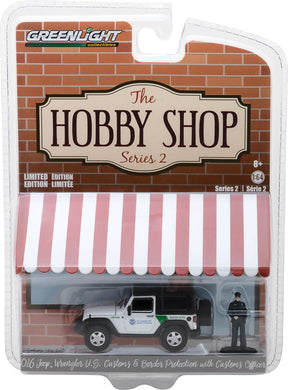 GreenLight 1/64 The Hobby Shop Series 2 - 2016 Jeep Wrangler - U.S. Customs and Border Protection with Customs Officer 97020-E