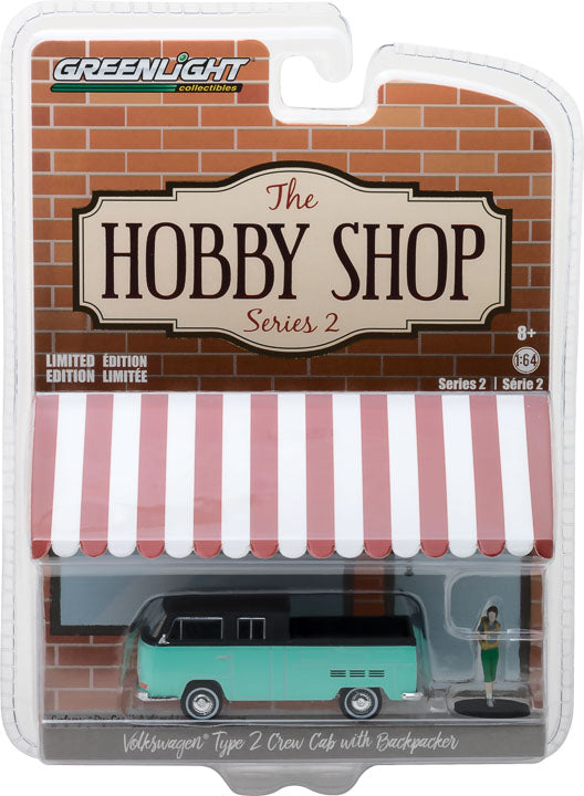 GreenLight 1/64 The Hobby Shop Series 2 - Volkswagen Type 2 Crew Cab Pick-Up Doka with Backpacker 97020-F