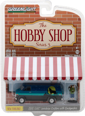 GreenLight 1/64 The Hobby Shop Series 3 - 1981 GMC Vandura Custom with Backpacker 97030-C