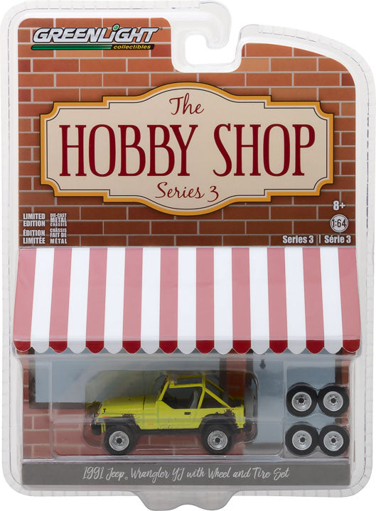 GreenLight 1/64 The Hobby Shop Series 3 - 1991 Jeep YJ with Mud Spray and Spare Tires 97030-D