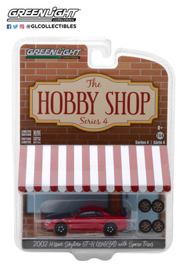 GreenLight 1/64 The Hobby Shop Series 4 - 2002 Nissan Skyline GT-R (R34) with Spare Tires 97040-E