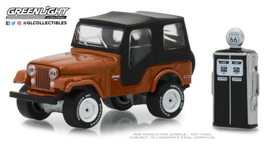 GreenLight 1/64 The Hobby Shop Series 5 - 1974 Jeep CJ-5 - Copper Metallic with Vintage Gas Pump 97050-D