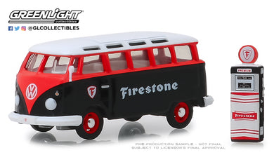 GreenLight 1/64 The Hobby Shop Series 6 - 1964 Volkswagen Samba Bus Firestone with Firestone Gas Pump 97060-A