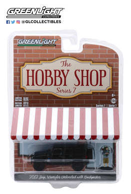 GreenLight 1:64 The Hobby Shop Series 7 - 2012 Jeep Wrangler Unlimited MOPAR Off-Road Edition with Backpacker 97070-F