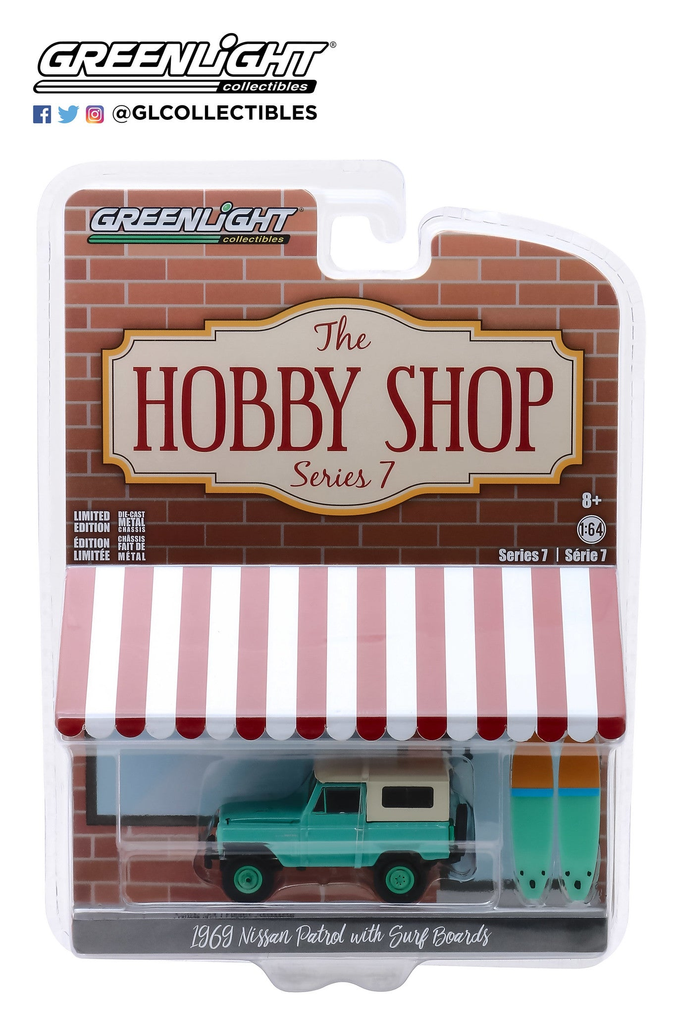 GreenLight 1:64 The Hobby Shop Series 7 - 1969 Nissan Patrol (60) with Surfboards 97070-C