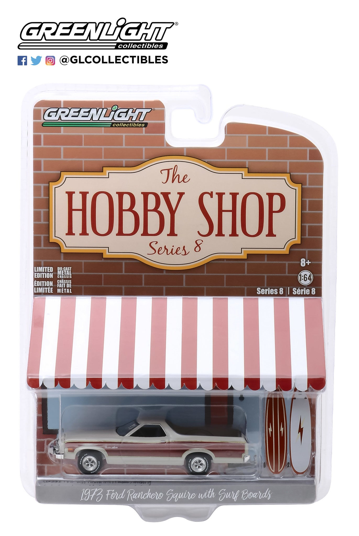 GreenLight 1:64 The Hobby Shop Series 8 - 1973 Ford Ranchero Squire with Surfboards 97080-A
