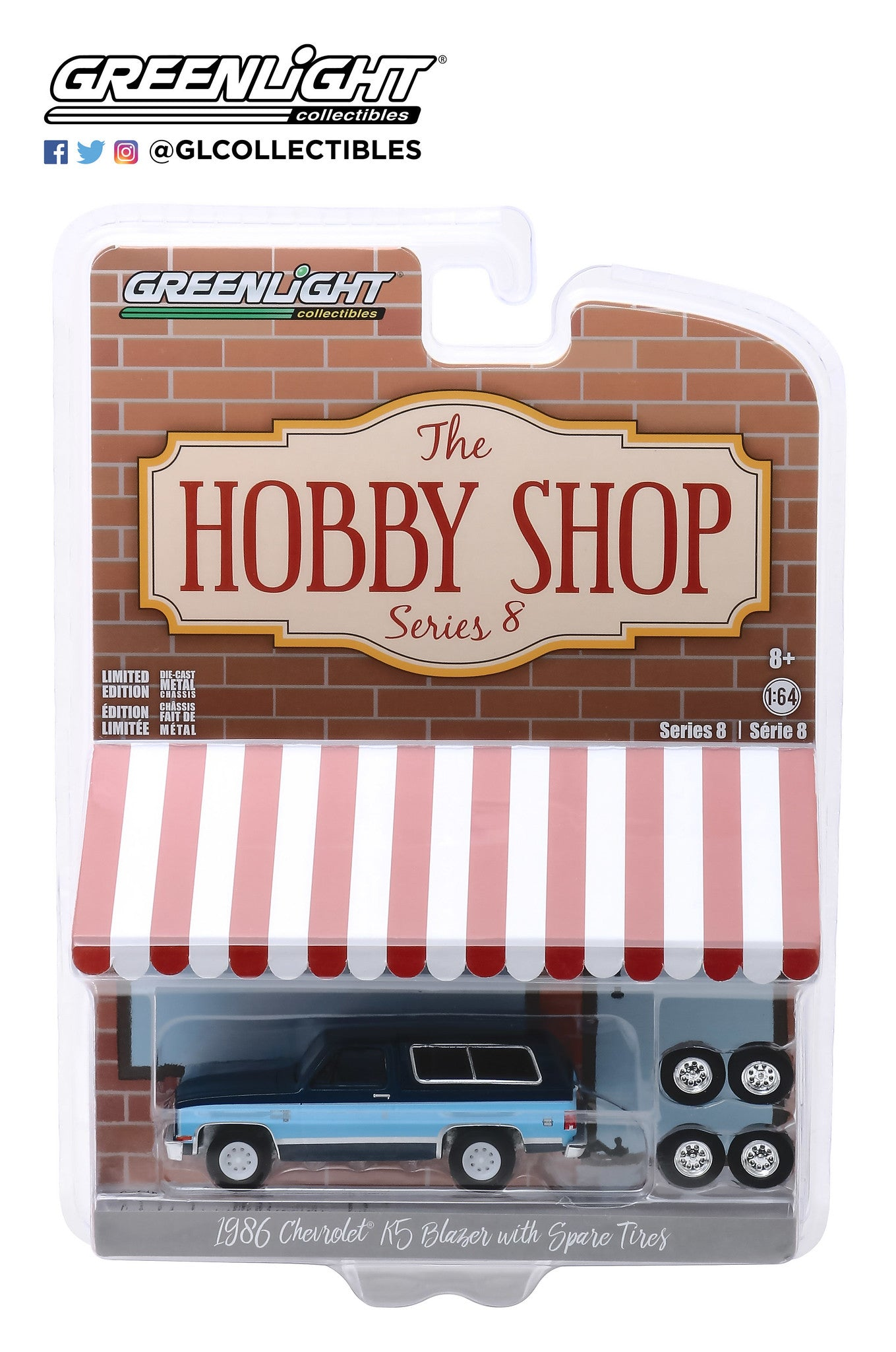 GreenLight 1:64 The Hobby Shop Series 8 - 1986 Chevrolet K5 Blazer with Spare Tires 97080-E