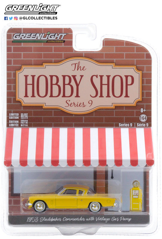GreenLight 1:64 The Hobby Shop Series 9 - 1953 Studebaker Commander with Vintage Gas Pump 97090-A
