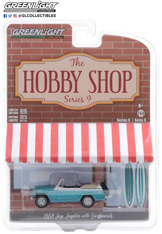 GreenLight 1:64 The Hobby Shop Series 9 - 1968 Kaiser Jeep Jeepster with Surfboards 97090-B