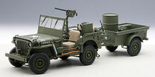 AUTOART 1/18 JEEP WILLYS (ARMY GREEN)(WITH TRAILER/ACCESSORIES INCLUDED) 74016