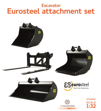 AT Collections 1/32 Eurosteel Excavator Accessory Set (3 Buckets and Pallet Fork) suitable for Volvo EWR150E wheeled excavator AT3200104