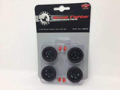 GMP 1/18 GMP Street Fighter 5-Spoke Wheel and Tire Set - Satin Black (from GMP-18837) GMP-18890