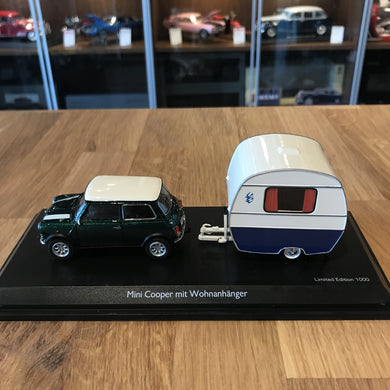 Schuco 1/43 BMW Mini Cooper with Caravan 450241500