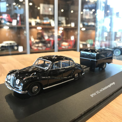 Schuco 1/43 BMW 502 with Funeral Trailer Black 450204500