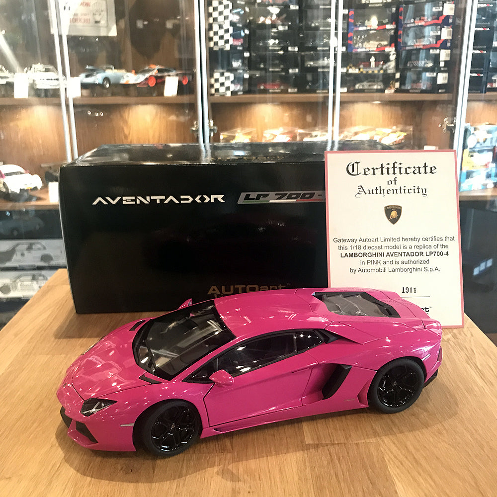AUTOART 1/18 LAMBORGHINI AVENTADOR LP700-4 (PINK BLACK WHEELS/BLACK INTERIOR/BLACK CALIPERS) 74660