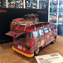 "Schuco 1/18 Volkswagen T1 Samba ""Hippie"" with roof tracks and surfboards 450028300"