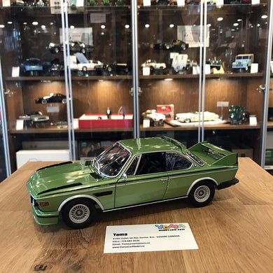 Minichamps 1/18 1975 BMW 3.0 CSL (E9) Coupe green metallic w/stripes 180029024