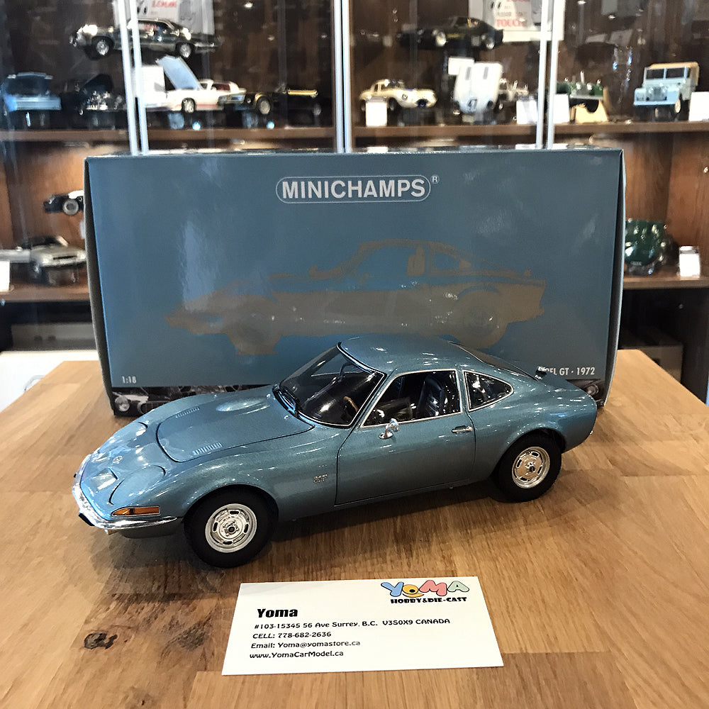 MINICHAMPS 1/18 OPEL GT 1972 BLUE METALLIC 180049030