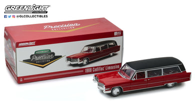 GreenLight 1/18 Precision Collection - 1:18 1966 Cadillac S&S Limousine - Red with Black Vinyl Roof PC-18008