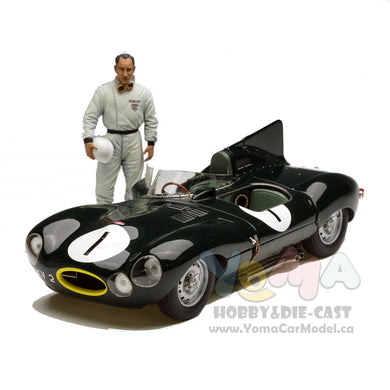 EXOTO XS 1/18 1954 Jaguar D-Type #1 with figure RARE RETIRED RLG88008DF