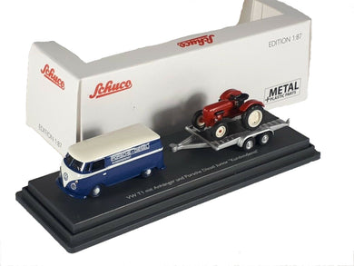 Schuco 1/87 Volkswagen T1c box van with trailer and Porsche Junior Tractor 452632800