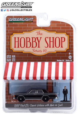 GreenLight 1:64 The Hobby Shop Series 10 - 1987 Ford LTD Crown Victoria - Black with Man in Black Suit 97100-E