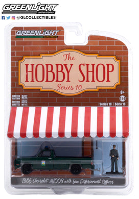 GreenLight 1:64 The Hobby Shop Series 10 - 1986 Chevrolet M1008 - Florida Office of Agricultural Law Enforcement with Enforcement Officer Figure 97100-D