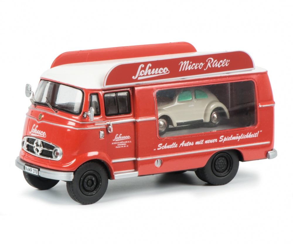 Schuco 1/43 Mercedes Benz L319 promotion car Schuco Micro Racer with Piccolo Volkswagen Beetle 450335400