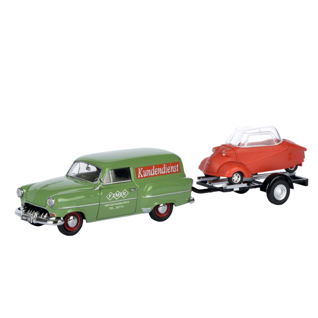Schuco 1/43 Opel Olympia Caravan with trailer and Messerschmitt KR Messerschmitt Service 450266700
