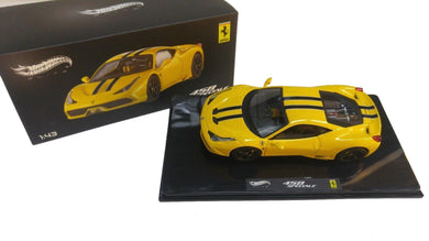 Hot Wheels Elite 1/43 2013 Street Ferrari 458 Speciale Yellow BLY46