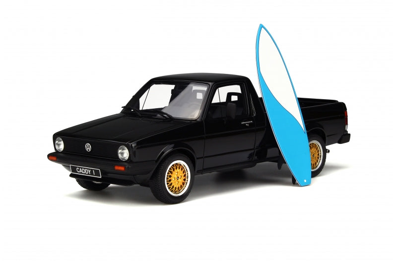 OTTO 1/18 Volkswagen Caddy Mk1 Pickup. Black. With Cool Blue Surfboard OT665B