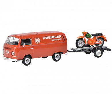 Schuco 1/43 Volkswagen T2a Kreidler-Service box van with bike trailer and Kreidler Florett 450334000