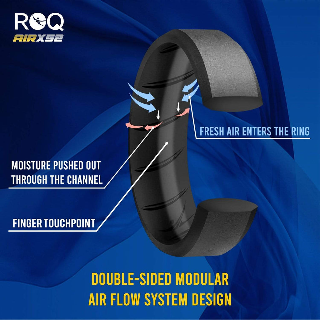 ROQ 4 Pack- ROQ Silicone Men Wedding Bands - breathable - edge 4 Pack - Silicone Ring For Men-  Breathable Comfort Fit Duo Beveled Design