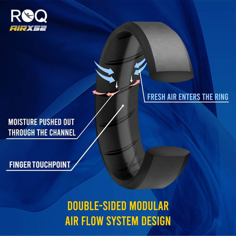Image of ROQ 4 Pack- ROQ Silicone Men Wedding Bands - breathable - edge 4 Pack - Silicone Ring For Men-  Breathable Comfort Fit Duo Beveled Design