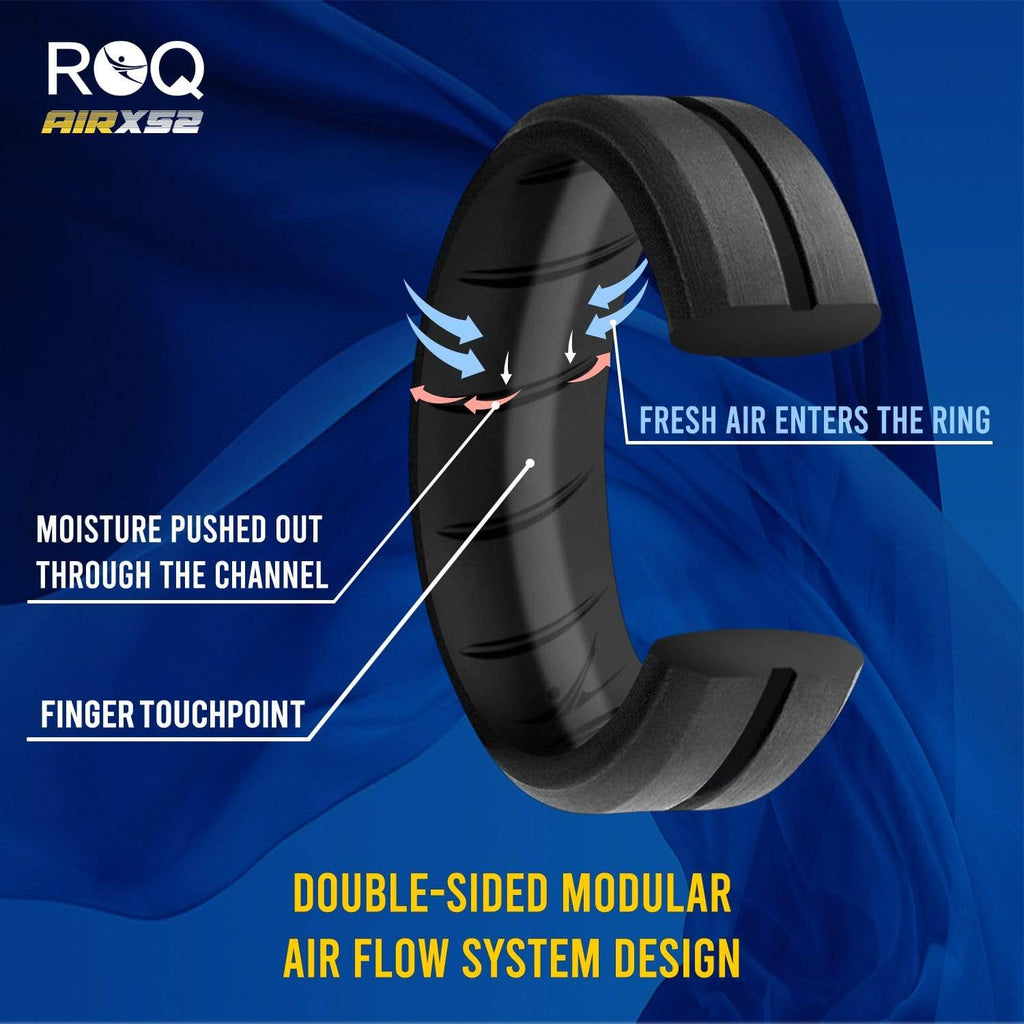 ROQ 4 Pack- ROQ Silicone Men Wedding Bands - breathable - middleline 4 Pack - Silicone Ring For Men-  Breathable Comfort Fit Duo Engraved Middle Line