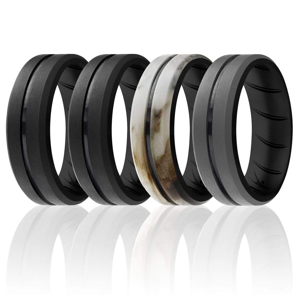 ROQ 4 Pack- ROQ Silicone Men Wedding Bands - breathable - middleline 7 4 Pack - Silicone Ring For Men-  Breathable Comfort Fit Duo Engraved Middle Line