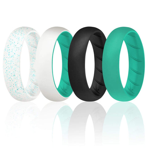 Image of ROQ 4 Pack - ROQ Silicone Women wedding bands - breathable 4 4 Pack - Silicone Ring For Women-  Breathable Comfort Fit Duo Design