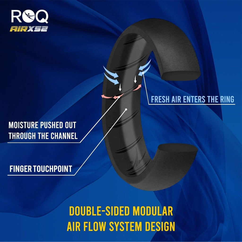 ROQ 4 Pack - ROQ Silicone Women wedding bands - breathable 4 Pack - Silicone Ring For Women-  Breathable Comfort Fit Duo Design