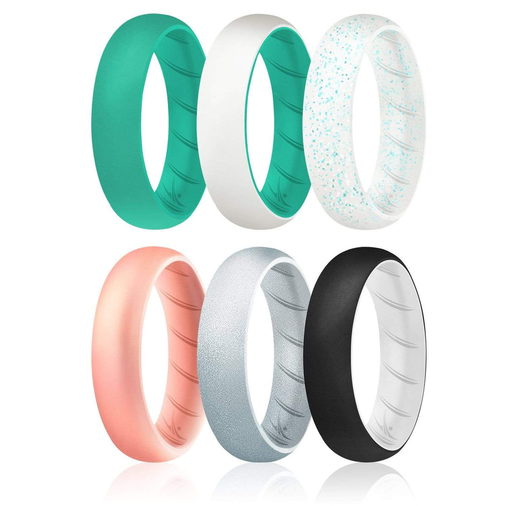 ROQ 6 Pack - ROQ Silicone Women wedding bands - breathable 4 6 Pack - Silicone Ring For Women-  Breathable Comfort Fit Duo Design